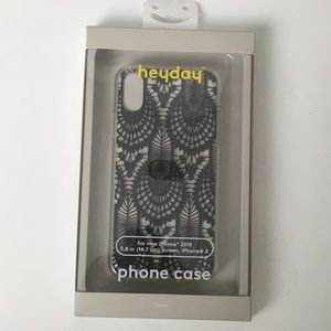 Heyday iPhone X case. Clear, black lace pattern